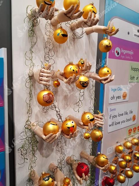 Zlaté smajlikové gule na vianočný stromček