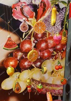Vianočné ozdoby na stromček v tvare melóna, pomaranča, jahody , kiwi, banana a citróna.