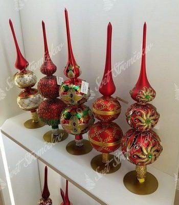 Červeno zlaté vianočné piky na stromček v retro štýle.