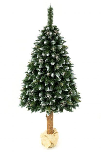 Umelý vianočný stromček Borovica Strieborná s kryštálmi ľadu na pníku