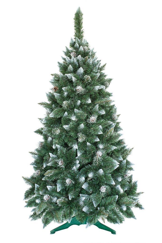 Umelý vianočný stromček Borovica so striebornými šiškami , bielymi špicatými končekmi vetvičiek a imitáciou kryštálikov ľadu. Stromček ma veľký počet vetvičiek a dokonalý ihlanový tvar .Stromček stojí na umelom stojane .