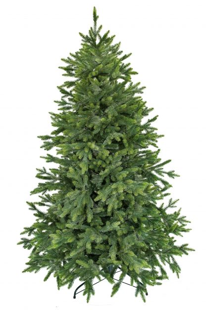 Krásny umelý vianočný stromček ktorý má konce vetvičiek zafarbené do bledozelená a tak pripomína čerstvé výhonky vetvičiek . Stromček vďaka dokonalým 3D vetvičkam je na nerozoznanie od živého. Pekný úhladny tvar dopĺňajú vytŕčajúce vetvičky pre ešte prirodzenejší vzhľad.Hustý vianočný stromček stojí na železnom stojane .
