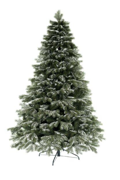 Vianočný stromček má všetky 3D vetvičky po obvode mierne zasnežené. Sneh je veľmi realistický a tak celý stromček pôsobí veľmi autentickým dojmom. Stromček má veľký počet vetvičiek a teda je aj veľmi hustý. Cely stromček je postavený na kovovom stojane.