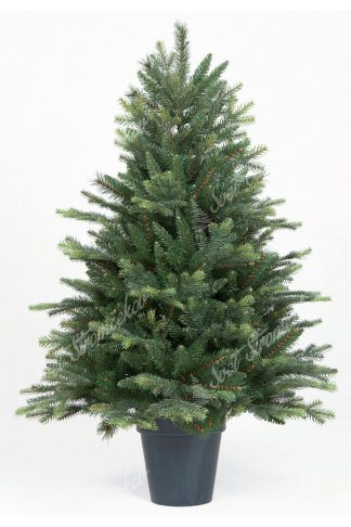 Malý umelý vianočný stromček vo výške 110cm. Stromček obsahuje veľa 3D vetvičiek a tak vyzerá ako živý. Stromček je zasadený v umelom kvetináči .