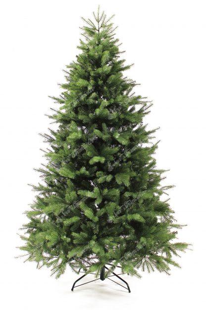 Krásny umelý vianočný stromček, ktorý ma krásnu zelenú farbu doplnenú o bledozelené vetvičky. Na stromčeku je použotý veľky počet 3D vetvičiek s 3D ihličím a tak je na nerozoznanie od živého. Stromček ma krásny a uhladný tvar . StromČek je postavený na kovovom stojane .