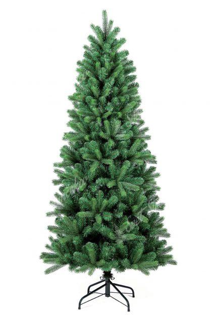 Stromček je ihlanového úzkeho tvaru a je tvorený klasickým PVC ihličím doplneným o 3D vetvičky. Stromček stojí na kovovom stojane.