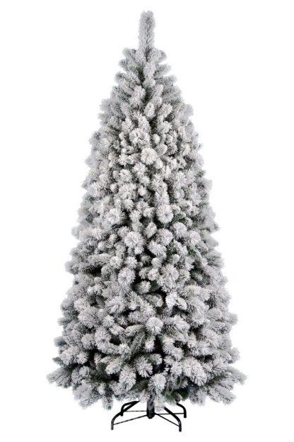 Umelý vianočný stromček v tvare úzkeho ihlana. Stromček je celý pokrytý bielym snehom. Stromček má veľký počet vetvičiek a preto je naozaj hustý. StromČek stojí na železnom stojane.