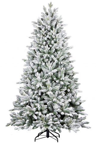 Na obrázku je krásny bielo zelenkastý stromček uhladeného ihlanového tvaru . Cely stromček je zasnežený umelým snehom a vďaka tomu je na nerozoznanie od toho živého zasneženého stromčeka v lese . Stromček je postavený na kovovom stojane.