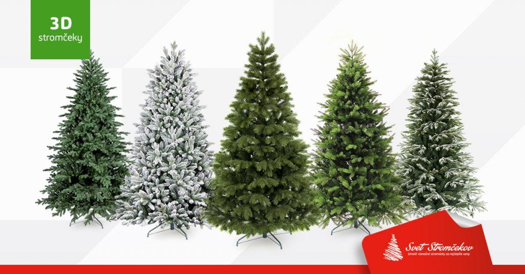 Na obrázku sa nachádza 5 3D stromčekov. Každý v inom farebnom prevedení 3D ihličia.