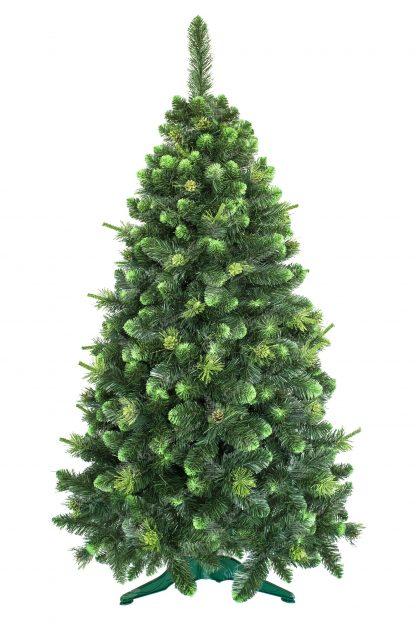 Umelý vianočný stromček zelenej farby. Končeky vetvičiek zafarbené do bledunko zelenkastej farby. Okraje stromčeka lemujú pozlateno zelenkasté borovicové šišky. Stromček je postavený na umelom stojane. Vetvičky stromčeka sú od zeme vzdialené 15cm .