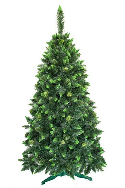 Umelý vianočný stromček Borovica Kvitnúca s kryštálmi ľadu. Stromček má tmavozelenú farbu. Končeky vetvičiek ma zastrihnuté do špica a zafarbené do olivovej zelenej farby. Niektoré vetvičky sú pokryté imitáciou ľadu , ktorá je tiež zelenej farby. Stromček ozdobujú borovicové šišky pokryté zelenými trblietkami . Stromček stojí na umelom stojane .