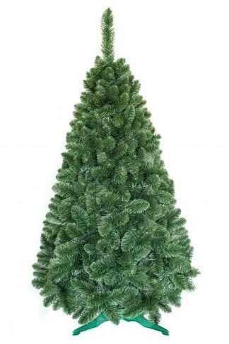 Obrázok umelého vianočného stromčeka . Celý stromček ma jednú prirodzené zelené farbu a veľký počet vetvičiek vďaka ktorým je naozaj hustý . Stromček stojí na umelom stojane.