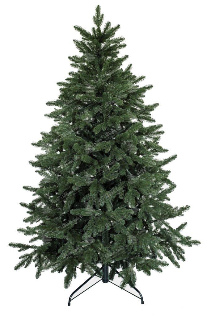 Umelý vianočný 3D stromček tmavozelenej farby. Dokonalé 3D vetvičky lemujú celý okraj stromčeka vďaka čomu vyzerá ako ten živý z lesa. Vianočný stromček je postavený na kovovom stojane.