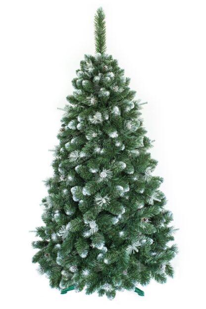 Umelý vianočný stromček borovica so striebornými šiškami a do biela zafarbenými končekmi vetvičiek. Extra hustý do ihlanu tvarovaný vianočný stromček postavený na umelom stojane.