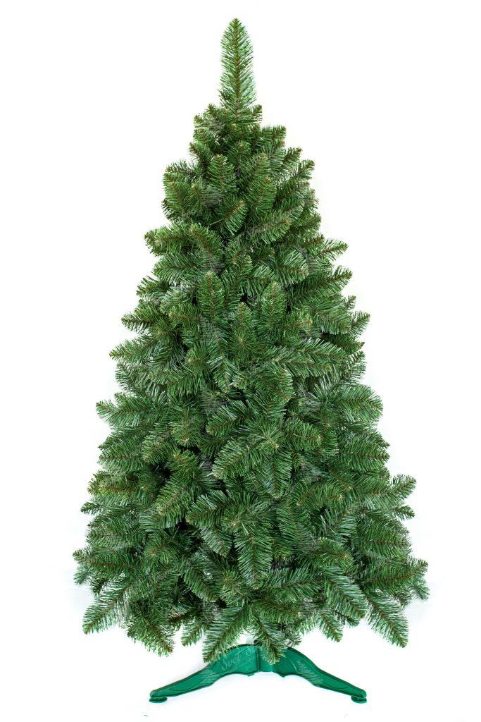 Umelý vianočný stromček bledšej zelenkastej farby. Stromček je postavený na umelom stojane.