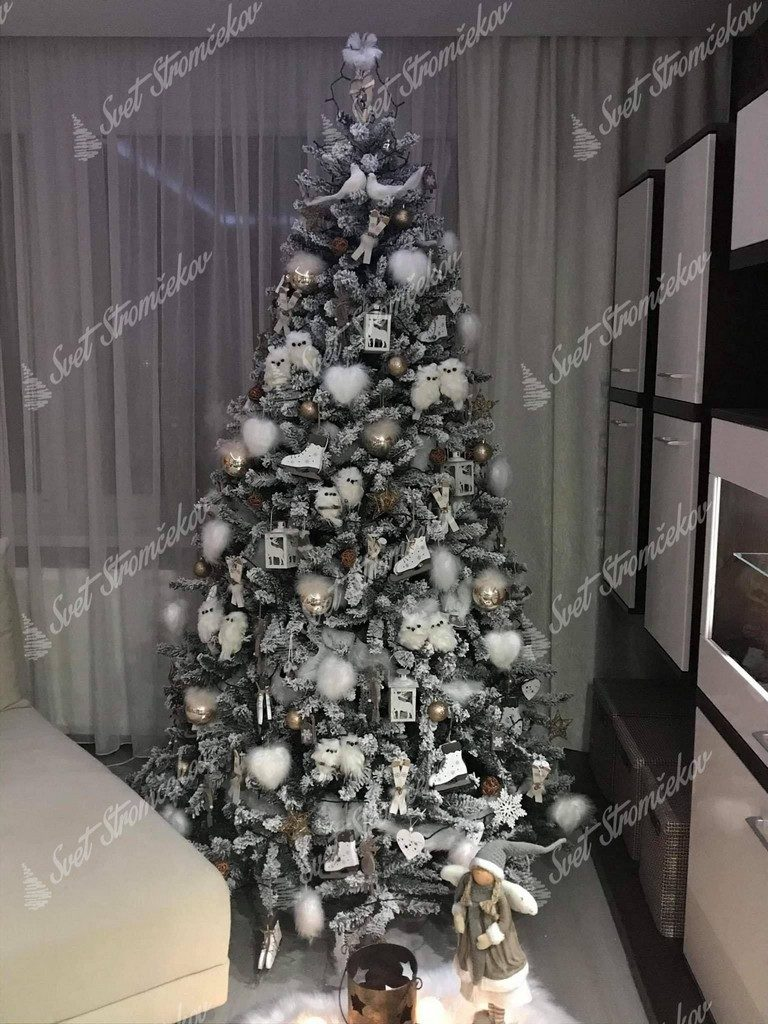Ozdobený biely vianočný stromček Smrek Severský bielými ozdobami .