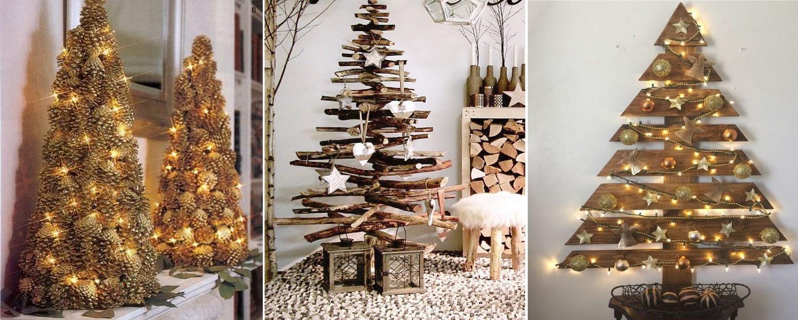 Drevené vianočné stromčeky zo šišiek , konárov , prútia a drevených dosiek .