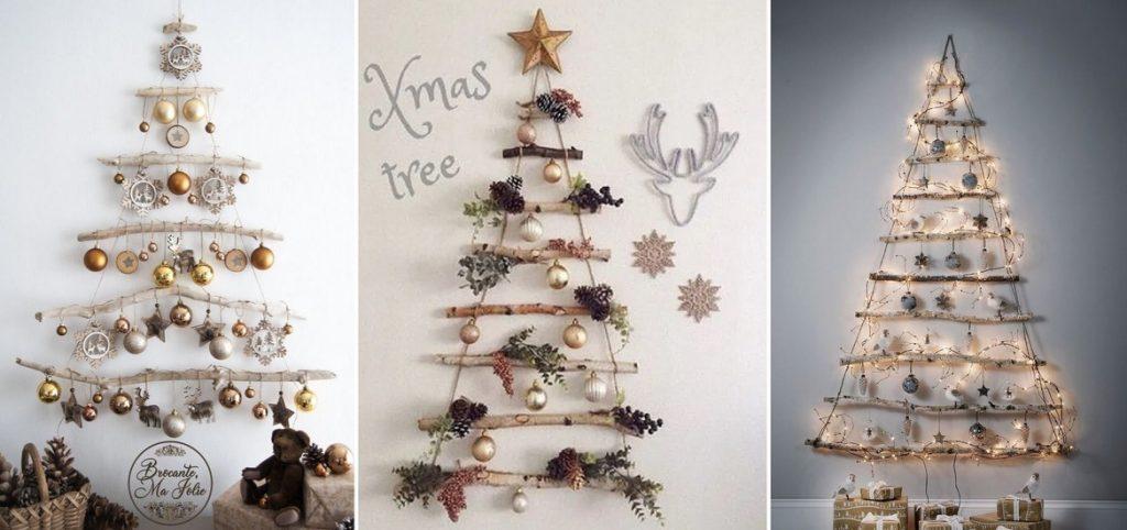 Vianočné stromčeky na stenu vyrobené pomocou konárov stromov a špagátov .