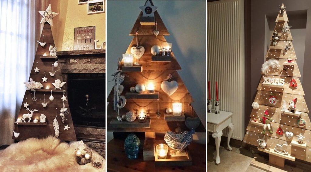 Vianočné stromčeky vyrobené z drevených dosiek a lát