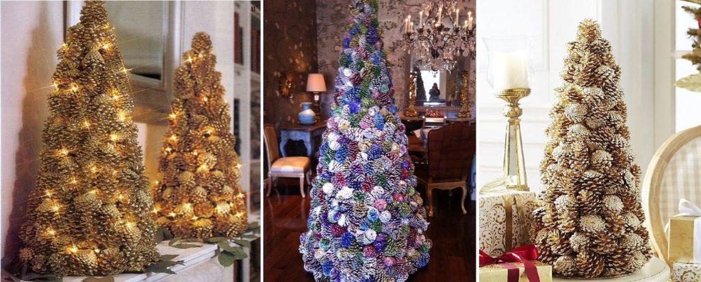 Vianočné stromčeky vyrobené zo šišiek nastriekané do rôznych farieb.