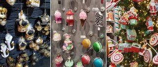 Na obrázku je mnoho moderných vianočných ozdob z najväčšej Vianočnej výstavy na svete vo Frankfurte.