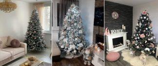 Tri moderne ozdobené vianočné stromčeky s roznými vianočnými ozdobami .