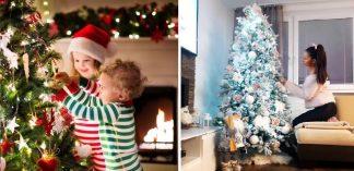 Na prvom obrázku sú dve deti, ktoré ozdobujú stromček a na druhom obrázku je žena, ktorá stavia stromček.