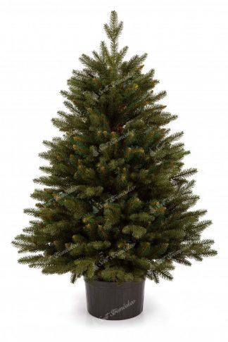 Malý vianočný stromček v kvetináči s tmavo zeleným 3D ihličím.