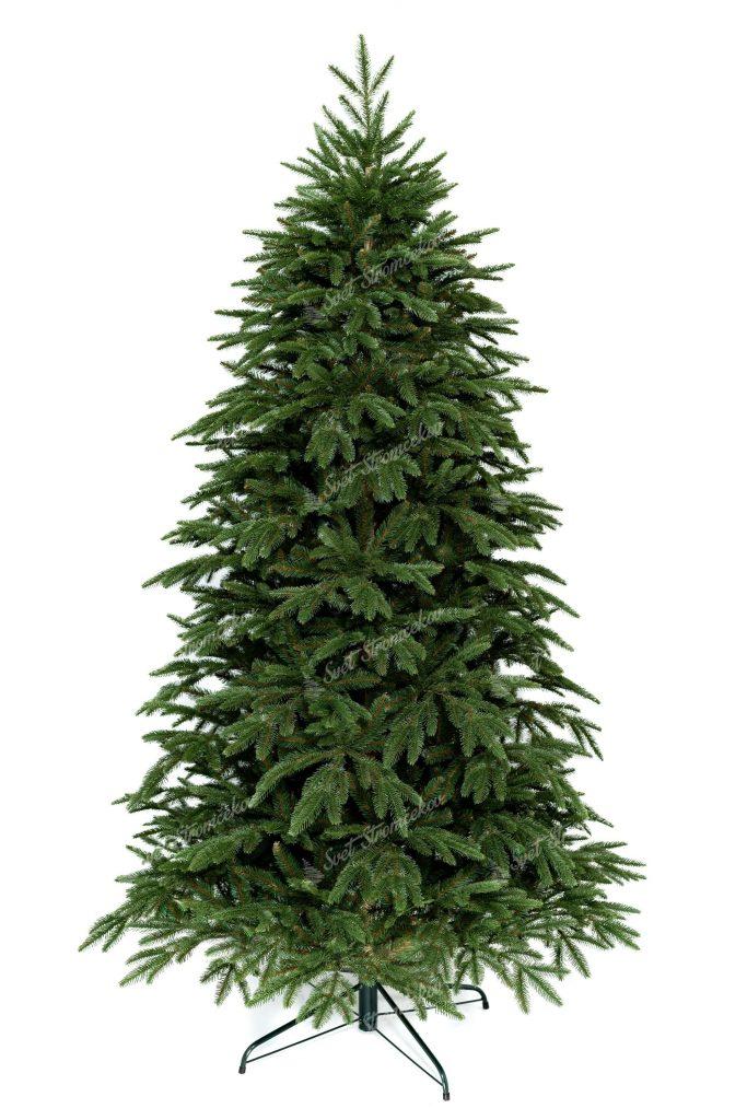 3D Vianočný stromček zelenej farby, ktorý stojí na železnom stojane.