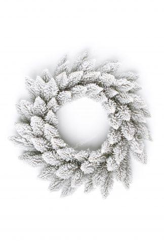 Biely vianočný veniec z vrchu.
