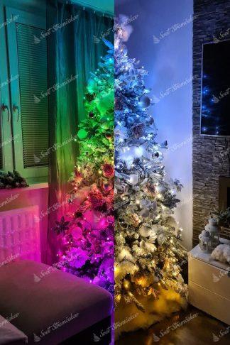 Kombinované LED osvetlenie na stromček Twinkly strings special edition, disponuje širokou škálou farieb. Je kombináciou farebných svetiel a odtieňov bielej a zlatej.