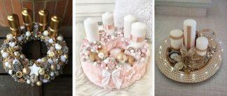 Adventné vence, zlaté a ružový. Zlatý adventný veniec z gúľ so zlatými sviečkami, ružový adventný veniec s bielymi sviečkami a zlatý adventný veniec na podnose s bielymi sviečkami.