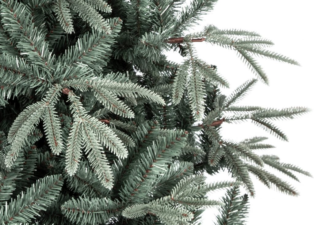 Umelý vianočný stromček 3D jedľa striebristá, detail ihličia