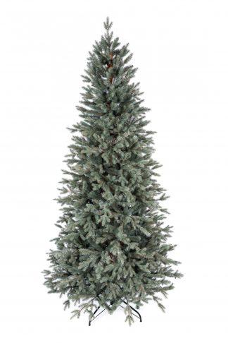 Umelý vianočný stromček 3D Smrek Ľadový Úzky. Vianočný stromček tyrkysovo-striebornej farby.