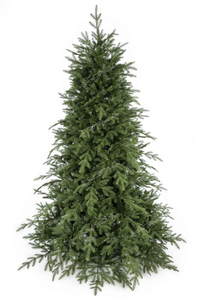 Umelý vianočný stromček 3D Smrek Mohutný. Vianočný stromček v realistickom prevedení a zelenej farbe.
