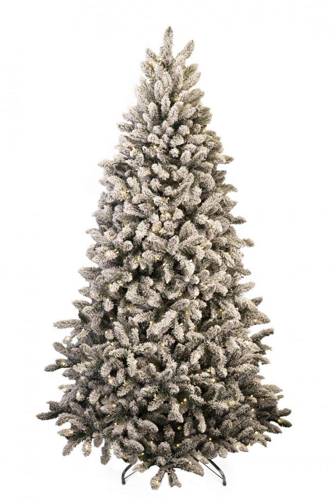 Umelý vianočný stromček Smrek Severský LED. Biely vianočný stromček s osvetlením.