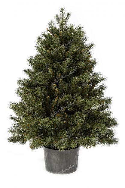 Vianočný stromček 3D Mini Borovica. Malý vianočný stromček v čiernom kvetináči. Stromček je zelenej farby.