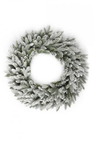 Vianočný veniec 3D Smrek Kráľovský. Biely zasnežený vianočný veniec.
