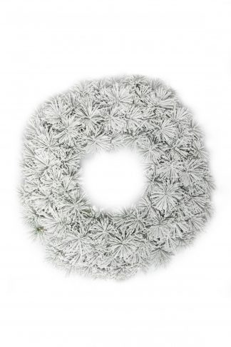 Vianočný veniec Borovica Biela. Husto zasnežený biely vianočný veniec s borovicovým ihličím.