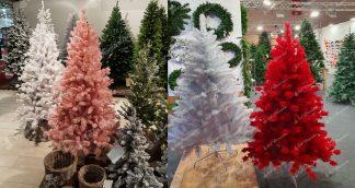 Umelé vianočné stromčeky rôznych farieb a veľkostí